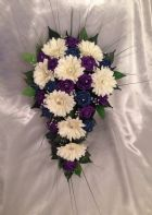 ARTIFICIAL FLOWERS IVORY PURPLE TEAL ROSE GERBERA CRYSTAL WEDDING SHOWER BOUQUET